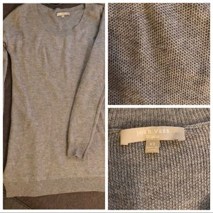 Joan Vass Tunic Length Wool/Cashmere Blend Sweater